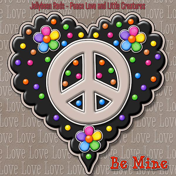 Jelly's Peace Sign Heart — Mocha on Black