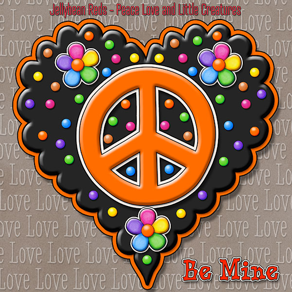 Jelly's Peace Sign Heart — Orange on Black