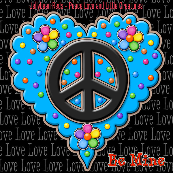 Jelly's Peace Sign Heart — Black on Blue