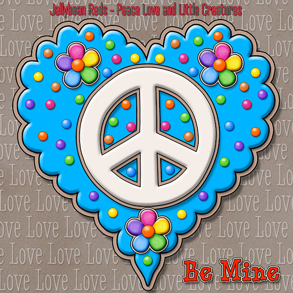 Jelly's Peace Sign Heart — Cream on Blue