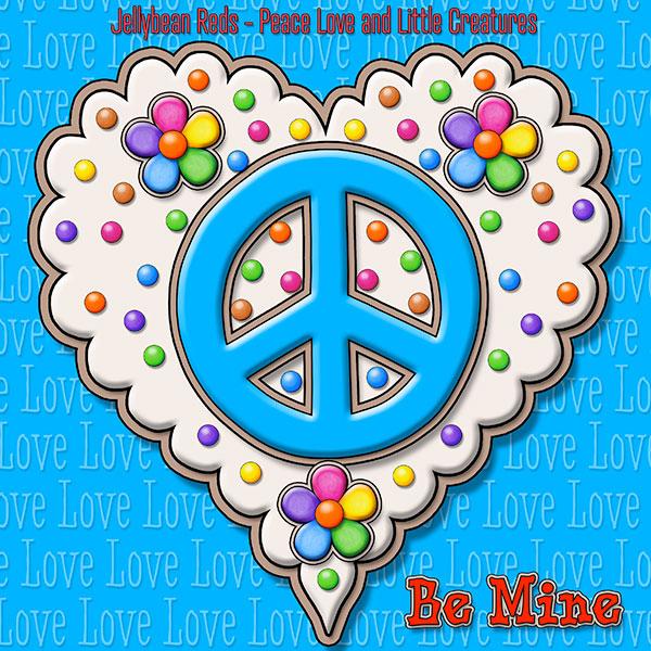 Jelly's Peace Sign Heart — Blue on Cream