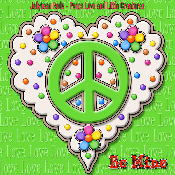 Jelly's Peace Sign Heart — Green on Cream