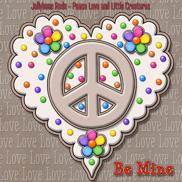 Jelly's Peace Sign Heart — Mocha on Cream