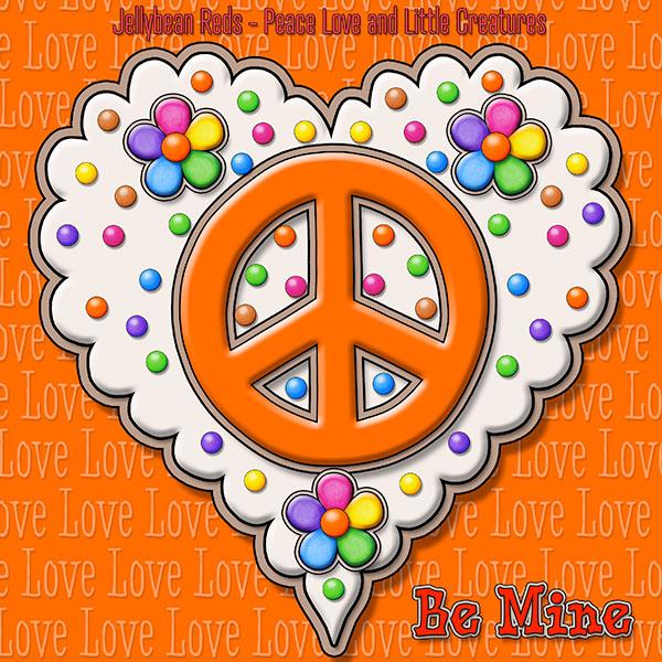 Jelly's Peace Sign Heart — Orange on Cream