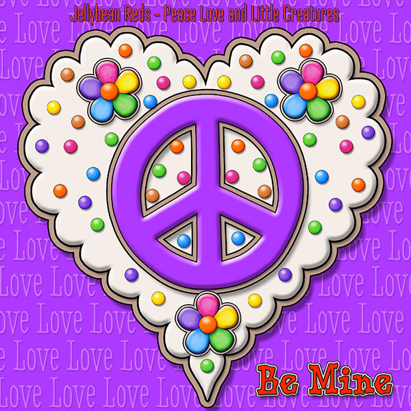 Jelly's Peace Sign Heart — Violet on Cream