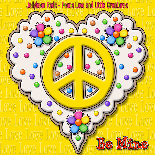 Jelly's Peace Sign Heart — Yellow on Cream