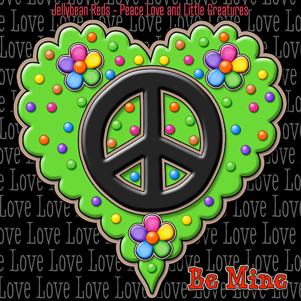 Jelly's Peace Sign Heart — Black on Green