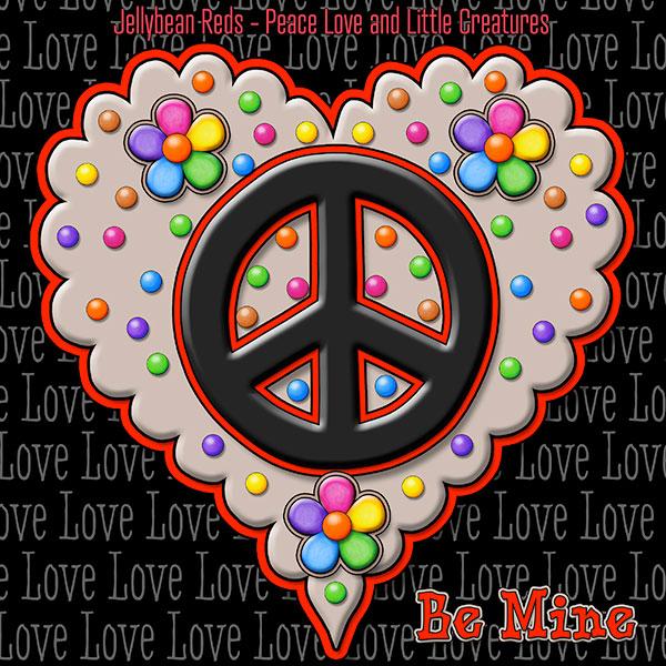Jelly's Peace Sign Heart — Black on Mocha