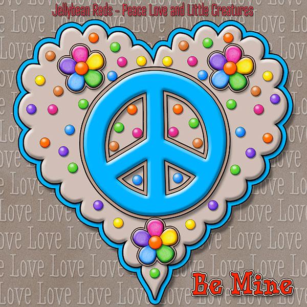 Jelly's Peace Sign Heart — Blue on Mocha