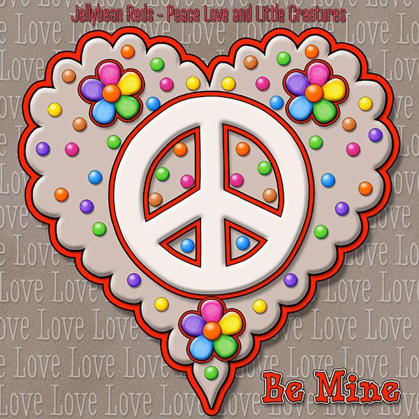 Jelly's Peace Sign Heart — Cream on Mocha