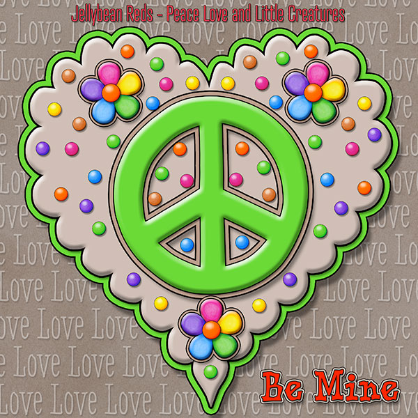 Jelly's Peace Sign Heart — Green on Mocha
