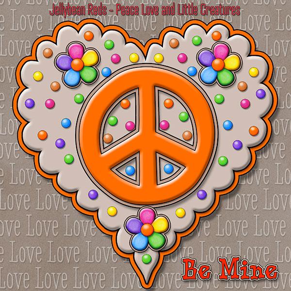 Jelly's Peace Sign Heart — Orange on Mocha