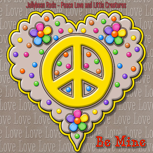 Jelly's Peace Sign Heart — Yellow on Mocha