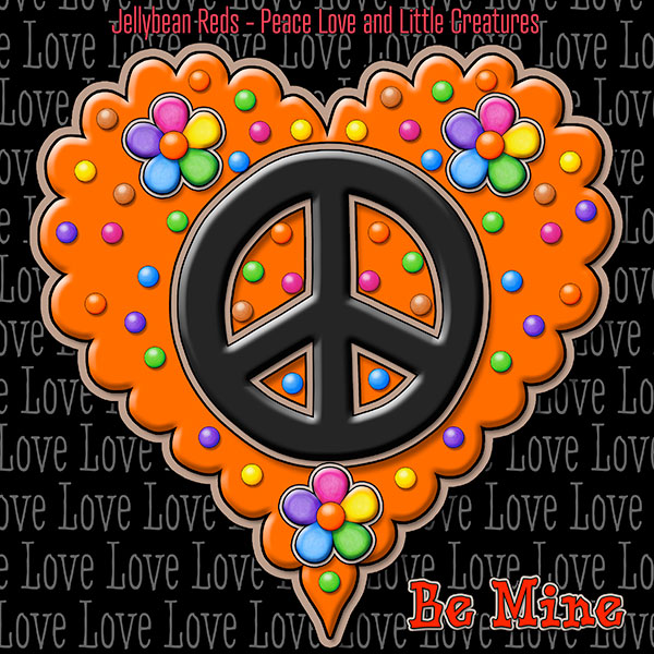 Jelly's Peace Sign Heart — Black on Orange