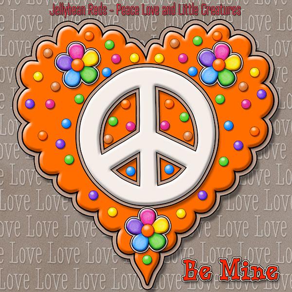 Jelly's Peace Sign Heart — Cream on Orange