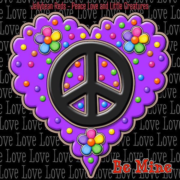 Jelly's Peace Sign Heart — Black on Violet
