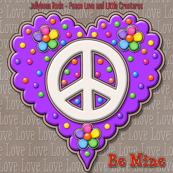 Jelly's Peace Sign Heart — Cream on Violet