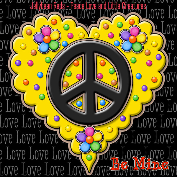 Jelly's Peace Sign Heart — Black on Yellow