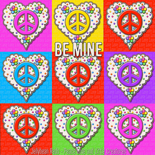Red and Rainbow Peace Sign Hearts arranged tic-tac-toe style. Sentiment: Be Mine