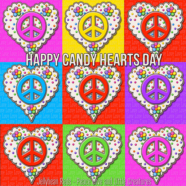 Red and Rainbow Peace Sign Hearts arranged tic-tac-toe style. Sentiment: Happy Candy Hearts Day