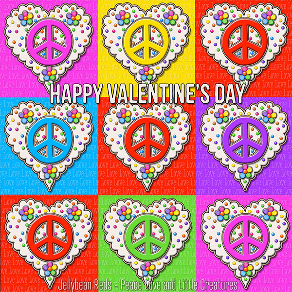 Red and Rainbow Peace Sign Hearts arranged tic-tac-toe style. Sentiment: Happy Valentine's Day