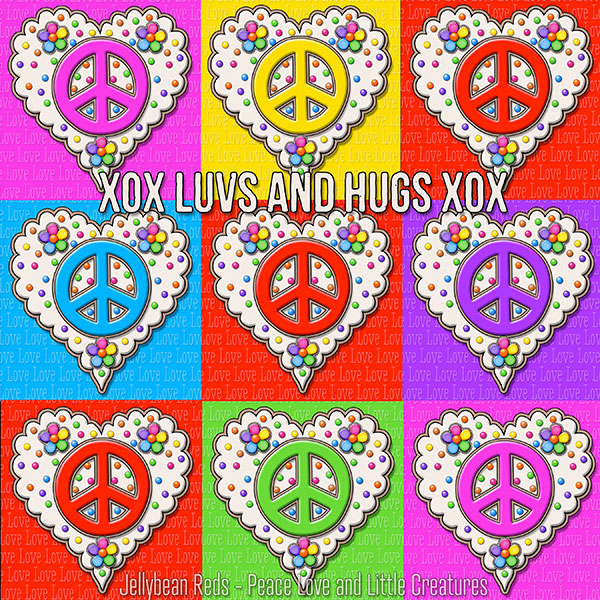 Red and Rainbow Peace Sign Hearts arranged tic-tac-toe style. Sentiment: Luvs and Hugs