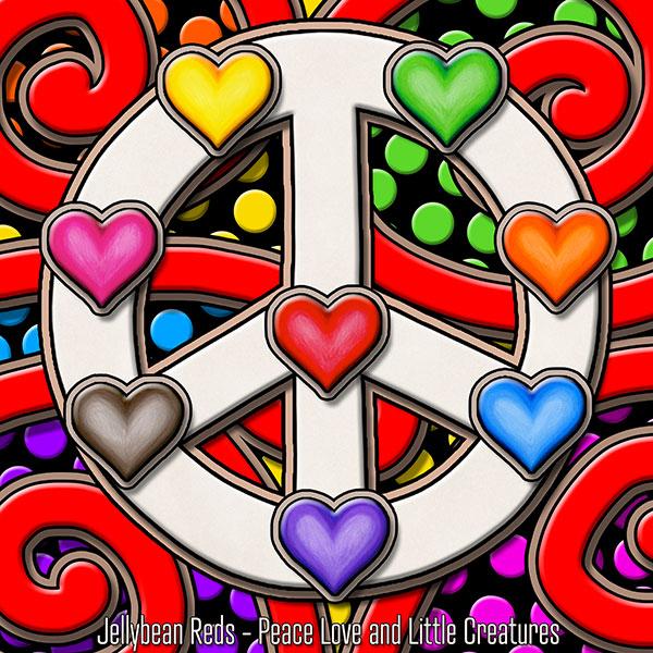 Peace Sign with Rainbow Hearts
