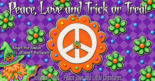 Pumpkin-Spiced Peace Sign - Orange on Violet with Green Flowers - Guest Appearance by the Pumpkin Wizard