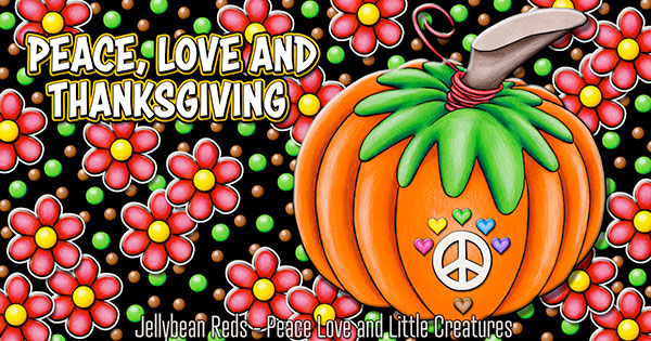 Pumpkin with Peace Sign and Hearts - Peace Love and Thanksgiving