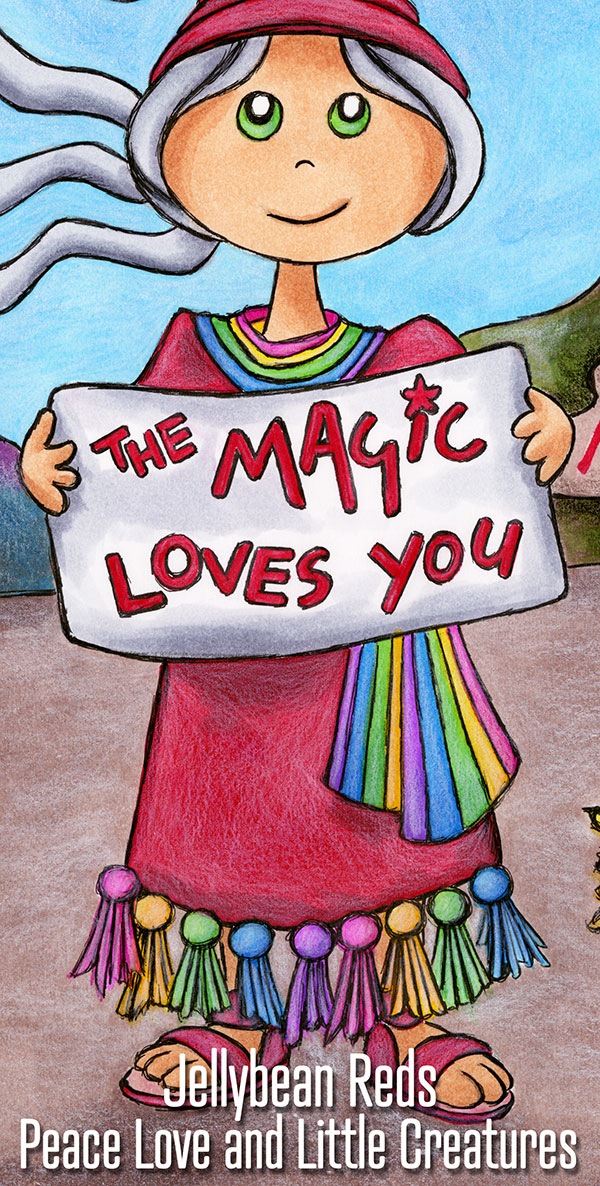 Townswoman with Sign - Close Up - The Magic Loves You