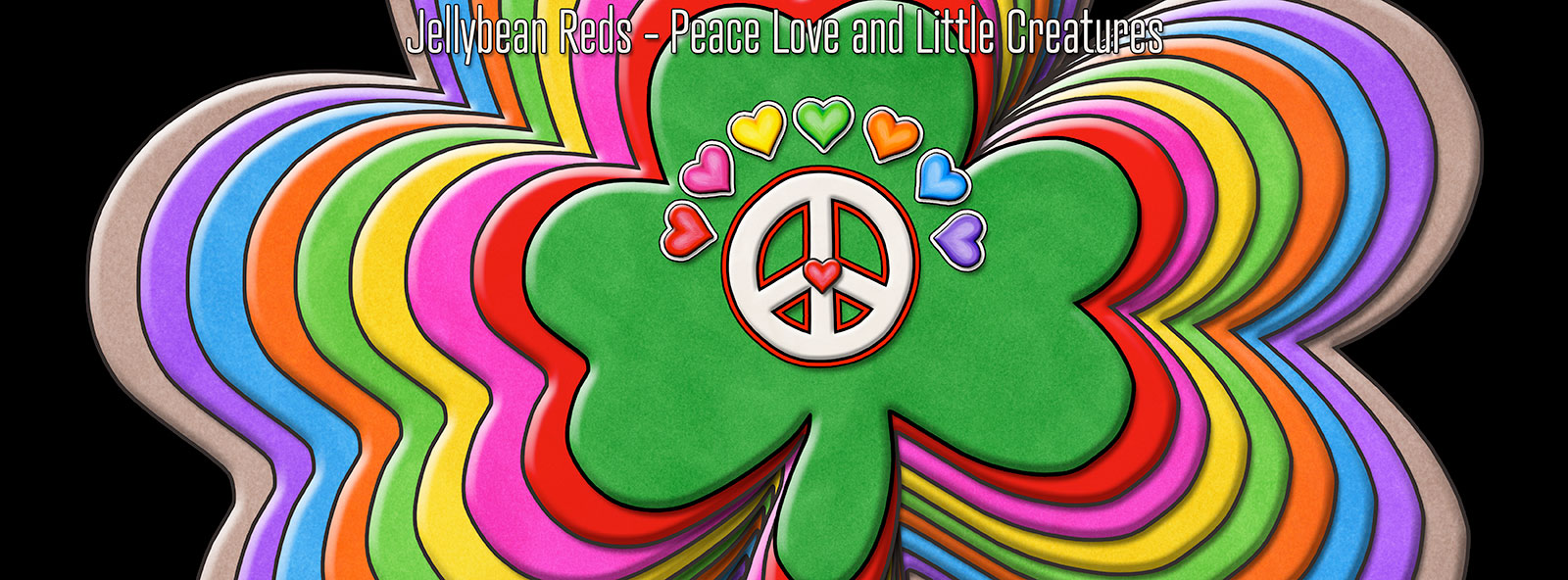 Rainbow Shamrocks with Peace Sign and Hearts