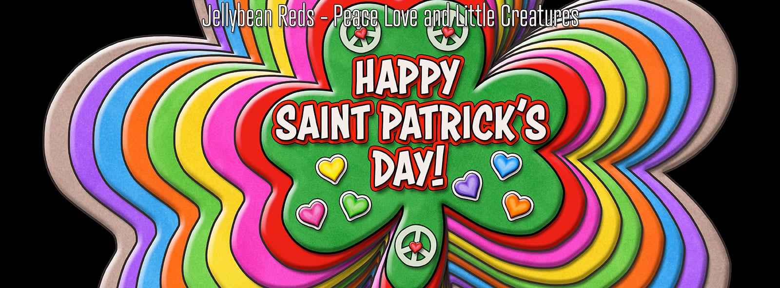Happy Saint Patrick's Day - Rainbow Shamrocks with Peace Signs and Hearts