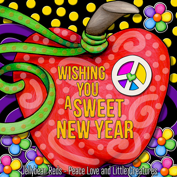 Wishing You a Sweet New Year - Gypsy Apple with Rainbow Peace Sign
