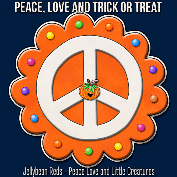 Peace, Love and Trick or Treat - Pumpkin-Spiced Peace Sign - Orange on Blue