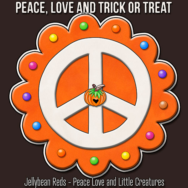 Peace, Love and Trick or Treat - Pumpkin-Spiced Peace Sign - Orange on Brown