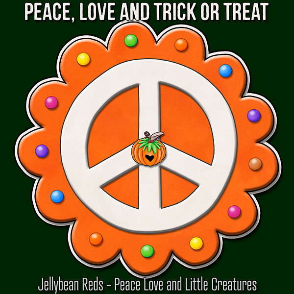 Peace, Love and Trick or Treat - Pumpkin-Spiced Peace Sign - Orange on Green