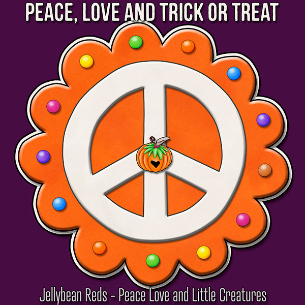 Peace, Love and Trick or Treat - Pumpkin-Spiced Peace Sign - Orange on Pink
