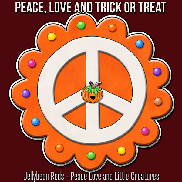 Peace, Love and Trick or Treat - Pumpkin-Spiced Peace Sign - Orange on Red
