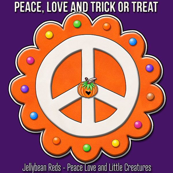 Peace, Love and Trick or Treat - Pumpkin-Spiced Peace Sign - Orange on Violet