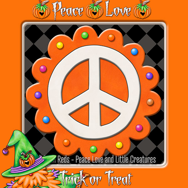 Pumpkin-Spiced Peace Sign - Orange with Orange Border - Guest Appearance by the Pumpkin Wizard