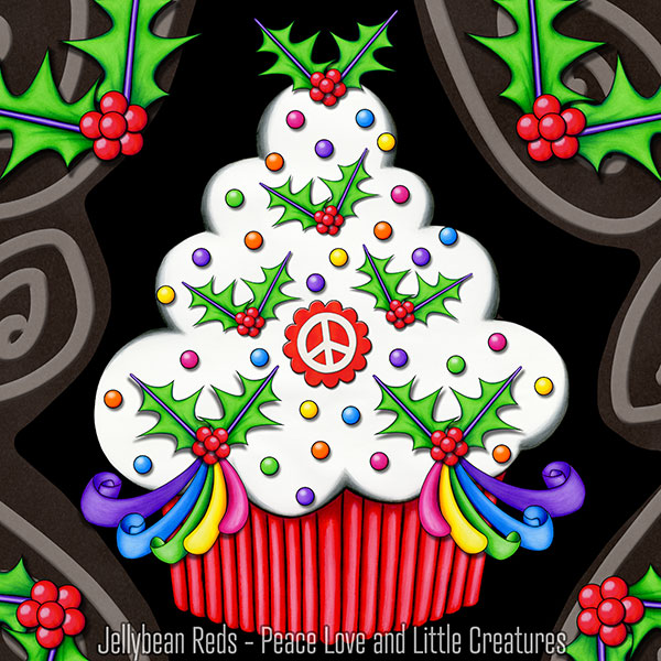 Holly Day Cupcake with Peace Sign
