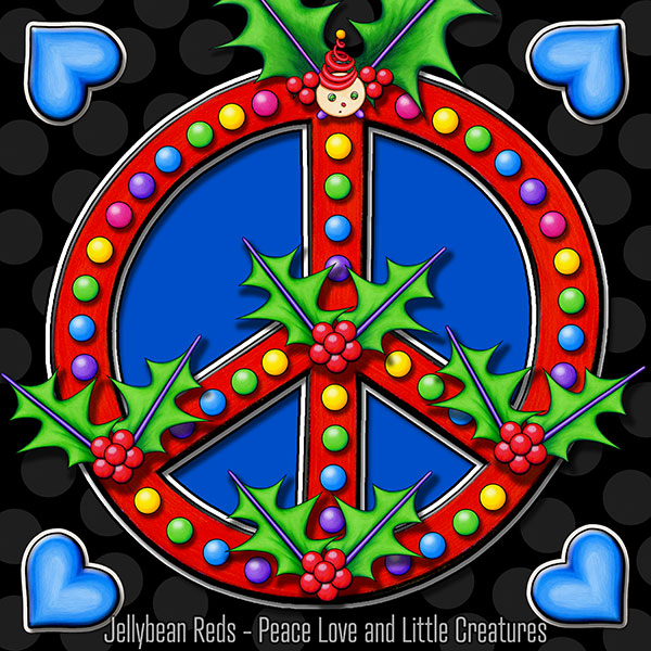 Holly Day Peace Sign with Blue Hearts