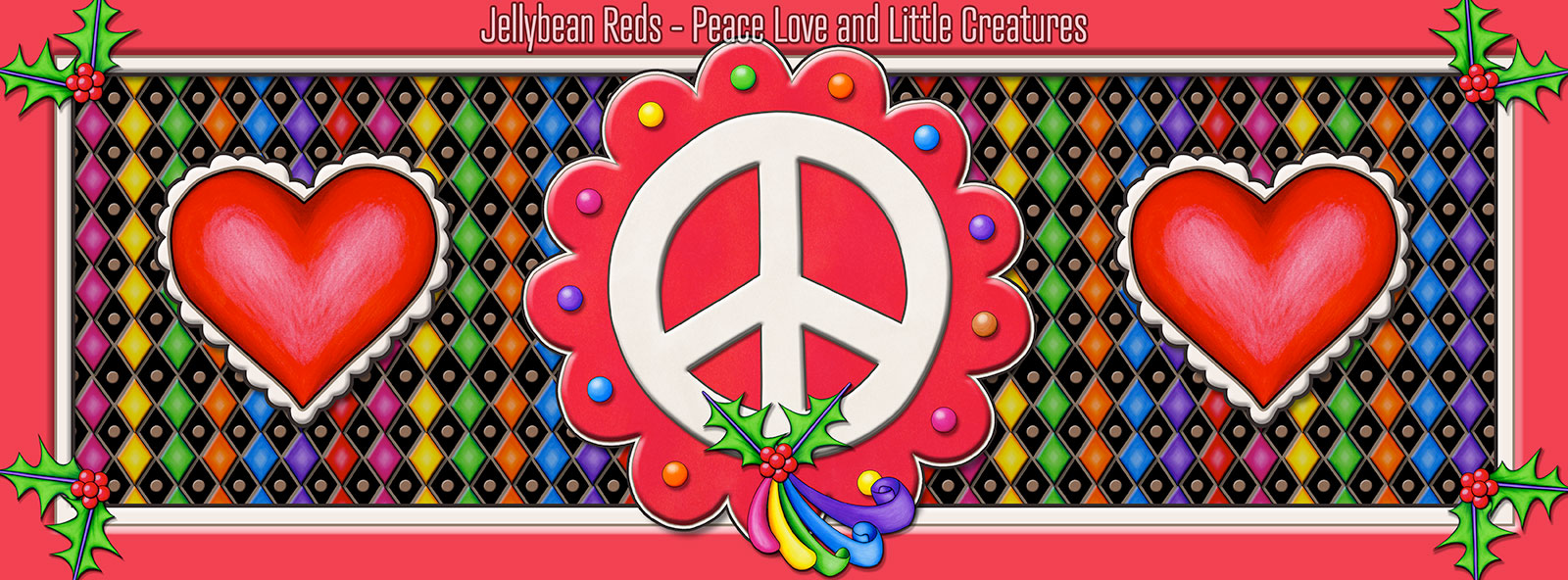 Red Peace Sign Medallion with Rainbow Holly Ribbon and Hearts
