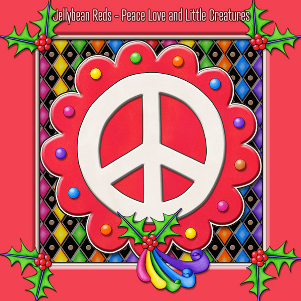 Red Peace Sign Medallion with Rainbow Holly Ribbon