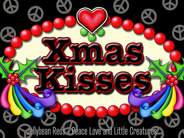 Xmas Kisses - Holly Ribbons and Peace Signs
