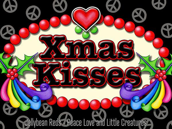 Xmas Kisses - Holly Ribbons and Peace Signs