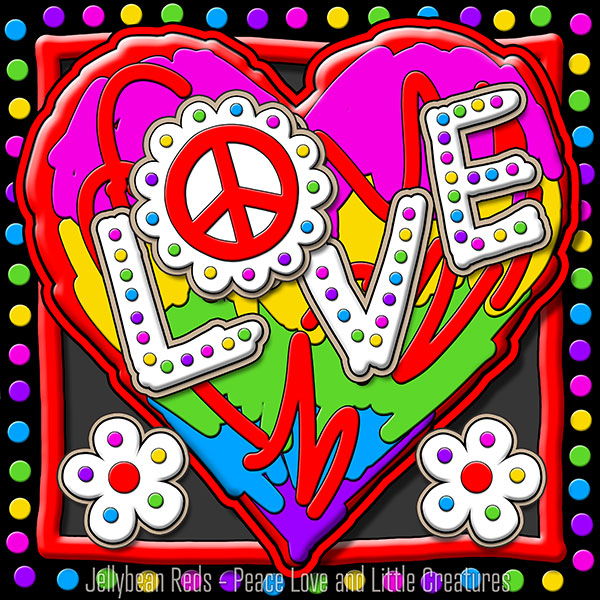 Hard Candy Heart with Peace Sign and Flowers - Love