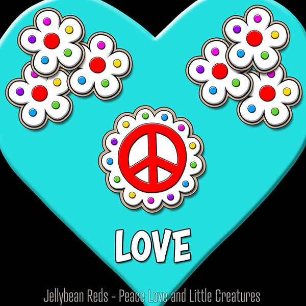 Aqua Heart with Peace Sign and Flowers - Love