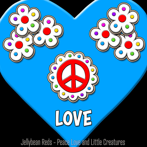 Blue Heart with Peace Sign and Flowers - Love