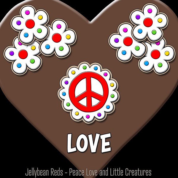 Brown Heart with Peace Sign and Flowers - Love